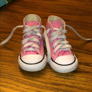 Pink Converse high tops, 5T